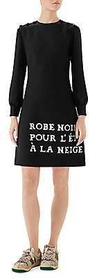 Gucci Women's Cady Crepe Wool & Silk Long-Sleeve French Dress
