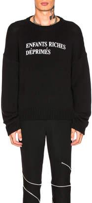 Enfants Riches Deprimes M Merino Wool Logo Crewneck Sweatshirt