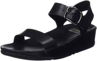 FitFlop Womens Bon Black Leather Sandals 9 US