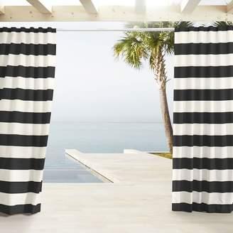 west elm Outdoor Stripe Curtains - Black