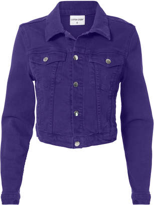 Cotton Citizen Purple Cropped Denim Jacket