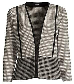 Misook Women's Tonal Grid Cropped & Flared Jacket