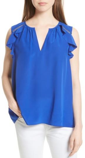 Women's Kate Spade New York Ruffle Shoulder Silk Top