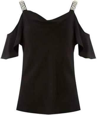 Dorothy Perkins Womens Black Pearl Cold Shoulder Top
