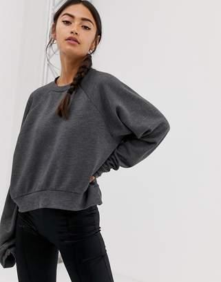 Asos Design DESIGN super soft batwing sweatshirt in charcoal