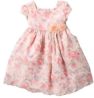 Laura Ashley Swiss Dot Floral Dress (Toddler & Little Girls)