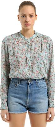 Etoile Isabel Marant Printed Embroidered Cotton Voile Blouse