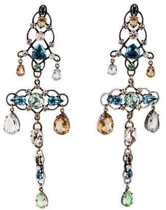 Lanvin Crystal Statement Clip-On Chandelier Earrings