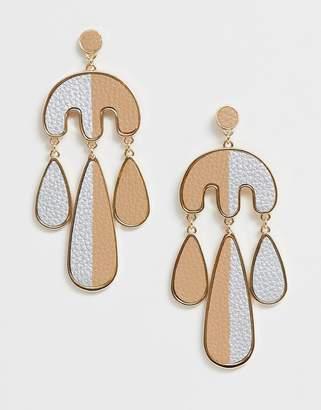 Asos Design DESIGN earrings in split faux leather design