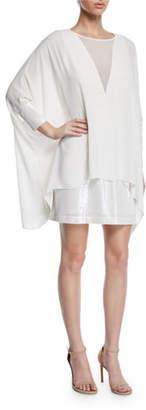 Halston Long-Sleeve Sequin Cuff & Hem Mini Dress