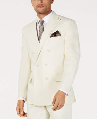 Sean John Men Classic-Fit Off White Solid Double Breasted Suit Jacket