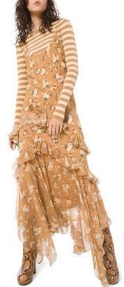 Michael Kors Asymmetric Ruffled Slip Dress