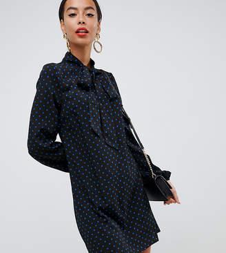 Fashion Union Tall pussybow shift dress in polka