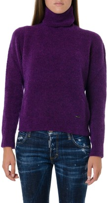 DSQUARED2 Wine Color Blend Wool High Neck Knitwear