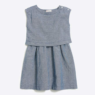 J.Crew Factory Girls' two-tier dress in linen-cotton