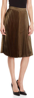 Lucy Paris Pleated Satin Midi Skirt