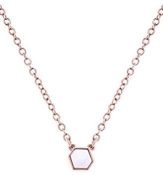 Karen Millen Polyhedra Rose Gold Stone Pendant on a Chain of Length 38cm