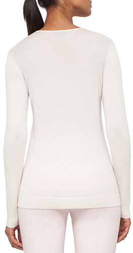 Akris Akris Long-Sleeve Cashmere/Silk Jewel-Neck Pullover, Pelican