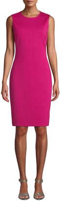 St. John Sleeveless Milano-Knit A-Line Dress, Pink