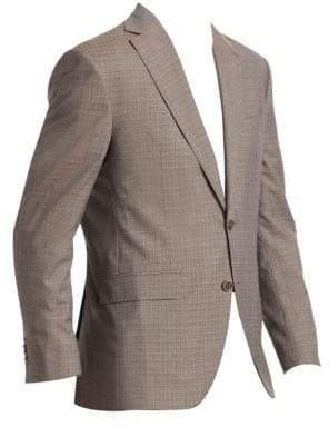 Saks Fifth Avenue Men's COLLECTION Crosshatch Two-Button Wool Suit - Taupe - Size 48 L