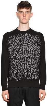 Logo Printed Cotton Jacquard Sweater