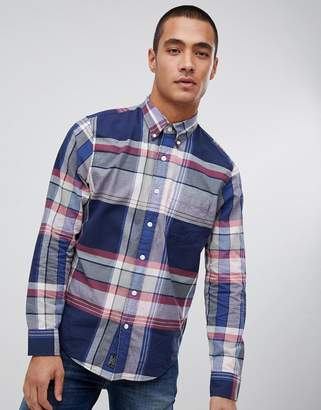 Abercrombie & Fitch madras large check shirt in navy & pink