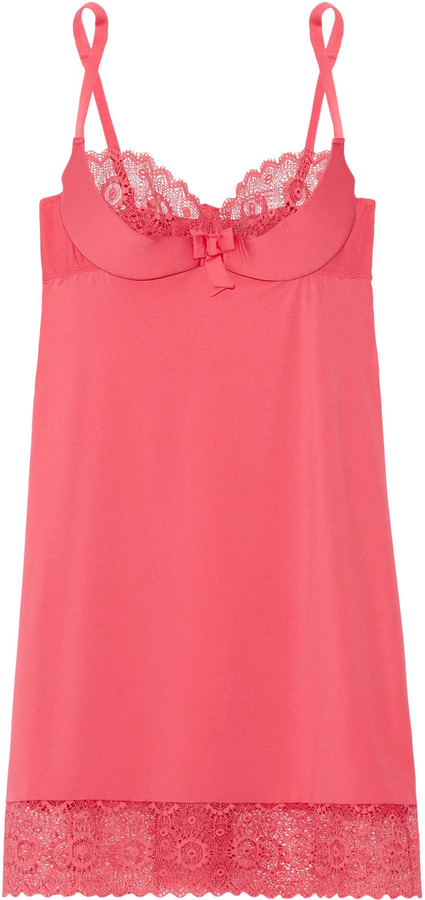 Cosabella Cosabella Q of Diamonds lace-trimmed stretch-jersey chemise