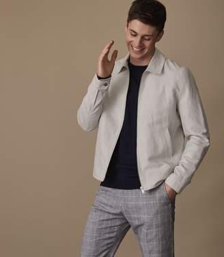 Reiss MARIBO Linen blend Harrington jacket Light Grey