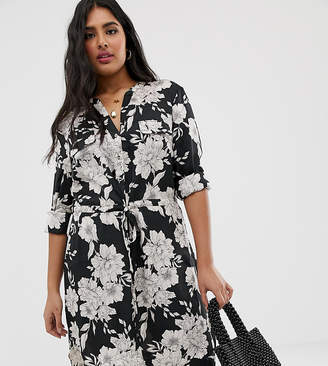 57110f0c9a1d Oasis Plus Curve shirt dress in bold floral print