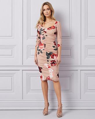 Le Château Floral Print Mesh Square Neck Dress