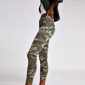 River Island Khaki camo Amelie super skinny jeans
