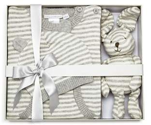 Elegant Baby Unisex Striped Coverall, Hat & Bunny Gift Set, Baby - 100% Exclusive