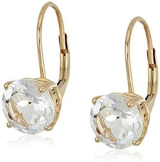 10k Yellow Gold Topaz Round Lever Dangle Earrings