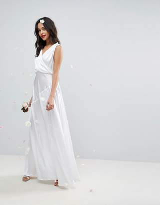 Asos Edition Deep Plunge Soft Wedding Maxi Dress With Ruching Detail