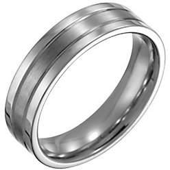 Forza Men's 6mm Steel Flat Satin Polished Ring