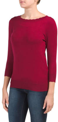 Scalloped Trim Boat Neck Sweater