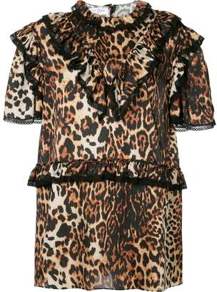 We11done leopard print ruffle trim dress