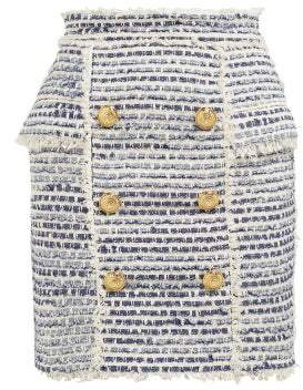 Balmain Double Breasted Logo Button Tweed Skirt - Womens - Blue White