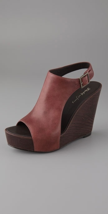 Elizabeth And James Haley Buckle Back Platform Wedge Sandals
