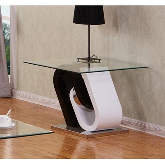 clear Best Quality Furniture Modern Style White / Cappuccino Coffee Table w Glass Top CT508