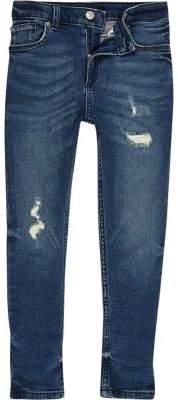 River Island Boys mid blue distressed Sid skinny jeans