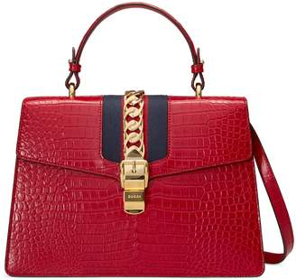 Gucci Sylvie medium crocodile top handle bag
