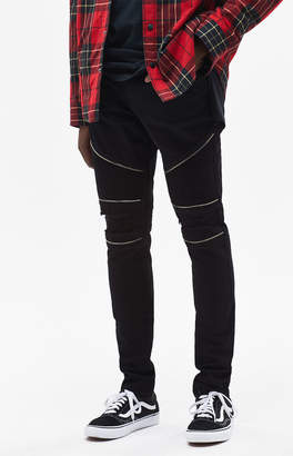 PacSun Stacked Skinny Moto Zip Black Jeans