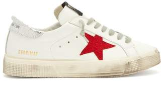 Golden Goose May Leather Low Top Trainers - Womens - Red White