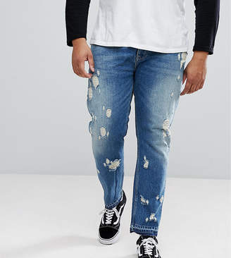 Asos DESIGN PLUS Slim Jeans In Vintage Mid Wash With Rips
