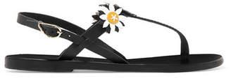 Ancient Greek Sandals Fabrizio Viti Sylvie Appliquéd Leather Sandals - Black
