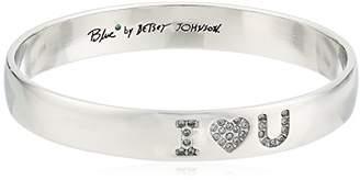 "Betsey Johnson Betsey Blue"" Pave I Heart U Bangle Bracelet"