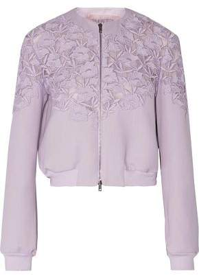 Giambattista Valli Cotton-Blend Guipure Lace-Paneled Silk And Wool-Blend Jacket
