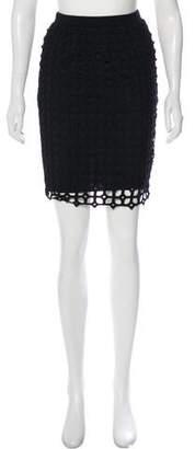 Lela Rose Knee-Length Open-Knit Skirt