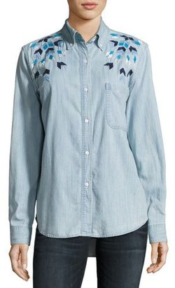 Rails Brett Embroidered Chambray Shirt, Blue $188 thestylecure.com